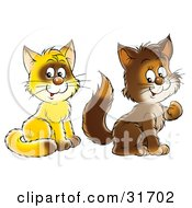 Clipart Illustration Of Two Yellow And Brown Kitty Cats Sitting And Looking At The Viewer