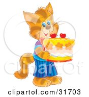 Clipart Illustration Of A Cute Striped Kitty Cat In Clothes Standing On Its Hind Legs And Holding A Birthday Cake