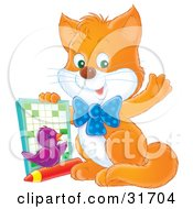 Clipart Illustration Of A Smart Ginger Kitten And Purple Bird Waving At The Viewer And Holding Up An Activity Book