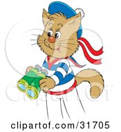 Clipart Illustration Of A Cute Sailor Cat In Uniform Holding A Pair Of Binoculars