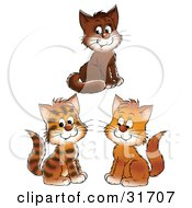 Clipart Illustration Of A Group Of Three Brown And Striped Kittens Smiling