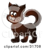 Clipart Illustration Of A Cute Dark Brown Kitty Cat Standing With His Tail High