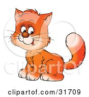 Clipart Illustration Of A Sweet Ginger Kitty Cat Sitting With Its Body Facing Left Its Head Turned Towards The Viewer