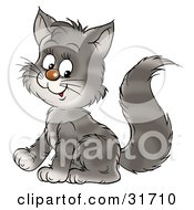 Clipart Illustration Of A Cute Gray Kitty Cat With Stripes Sitting And Smiling