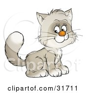 Clipart Illustration Of An Adorable White And Gray Kitty Cat Sitting And Smiling