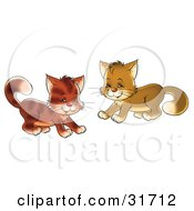 Clipart Illustration Of Two Playful Brown Kitty Cats Being Frisky by Alex Bannykh