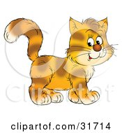 Clipart Illustration Of A Happy Kitten With Stripes On Orange Fur Walking To The Right