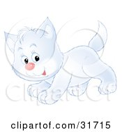 Clipart Illustration Of A Cute Playful White Kitty Cat Running Past by Alex Bannykh