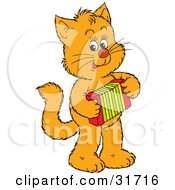 Clipart Illustration Of A Talented Ginger Kitten Standing On Its Hind Legs And Playing An Accordion