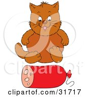 Clipart Illustration Of A Chubby Brown Cat Sitting In Front Of A Roll Of Sausage