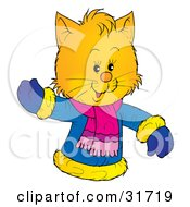 Clipart Illustration Of A Friendly Yellow Kitten Wearing A Winter Coat And Waving