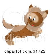 Clipart Illustration Of A Cute Leaping Brown Kitten Jumping And Looking Back