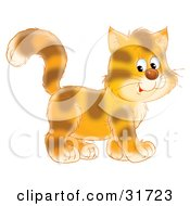 Clipart Illustration Of A Cute Tiger Striped Kitty Cat In Profile Walking To The Right
