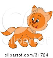 Clipart Illustration Of A Cute Ginger Kitten Walking To The Right Looking Back Over His Shoulder by Alex Bannykh