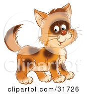 Clipart Illustration Of A Cute Brown Kitty Cat With Spots Smiling At The Viewer