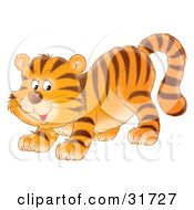 Clipart Illustration Of A Playful Tiger Cub Crouching Down On His Front Legs Glancing Back by Alex Bannykh