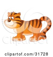 Clipart Illustration Of A Happy Tiger In Profile Walking To The Left by Alex Bannykh
