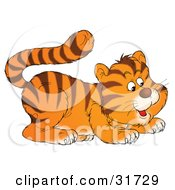 Clipart Illustration Of A Cute Frisky Tiger Cub Playfully Crouching by Alex Bannykh