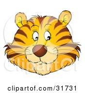 Clipart Illustration Of A Friendly Tiger Face With Whiskers Glancing Off To The Right