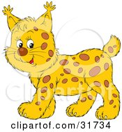 Clipart Illustration Of A Spotted Lynx Cub Smiling And Walking To The Left by Alex Bannykh