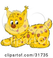 Clipart Illustration Of An Adorable Playful Spotted Bobcat Cub Crouching by Alex Bannykh