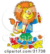 Smart Young Male Lion Wearing Clothes Walking Through Fallen Leaves And Carrying A Book And Pencil To School