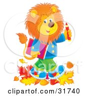 Clipart Illustration Of A Young Male Lion Wearing Clothes And Walking Through Leaves On His Way To School