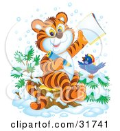 Clipart Illustration Of A Smart Tiger Cub And Bird In The Snow Coloring In An Activity Book by Alex Bannykh