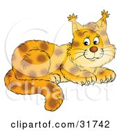 Clipart Illustration Of An Adorable Spotted Lynx Cub With Tufts At The Tips Of The Ears by Alex Bannykh