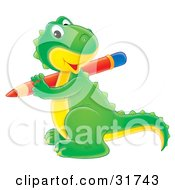 Clipart Illustration Of A Cute Green And Yellow Baby Dinosaur Smiling At The Viewer While Writing With A Red Pencil