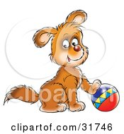 Clipart Illustration Of A Brown Puppy Dog Resting One Paw On Top Of A Ball