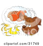 Clipart Illustration Of A Happy Puppy Day Dreaming Of Sausage While Catching A Whiff Of Food In The Air