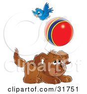 Clipart Illustration Of A Playful Puppy Chasing A Ball A Bird Flying Above