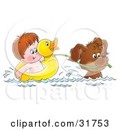 Clipart Illustration Of A Puppy Swimming And Pulling A Boy In A Ducky Float by Alex Bannykh