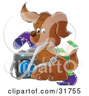 Clipart Illustration Of An Adorable Puppy Posing With Film And A Camera by Alex Bannykh