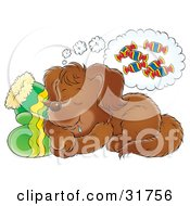 Clipart Illustration Of A Brown Puppy Drooling While Sleeping On A Pair Of Gloves Dreaming Of Treats