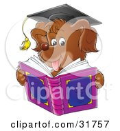 Clipart Illustration Of A Brown Dog Wearing A Graduation Cap And Reading A Book
