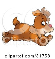 Clipart Illustration Of A Running Brown Dog Glancing While Passing