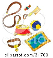 Clipart Illustration Of A Dog Leash Treat Comb Ball Blanket Collar And Dish Full Of Food