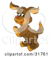Clipart Illustration Of An Energetic Brown Puppy Standing On Its Hind Legs
