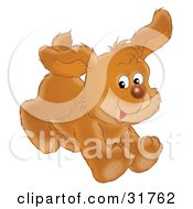 Clipart Illustration Of A Playful Brown Puppy Dog Running With Its Ears Flapping