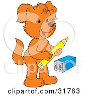 Clipart Illustration Of An Orange Dog Standing On Its Hind Legs Holding A Pencil Near A Pencil Sharpener