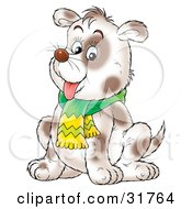 Clipart Illustration Of A Chubby Spotted Dog Wearing A Scarf Sitting And Hanging Its Tongue Out by Alex Bannykh