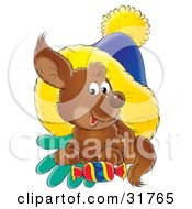 Clipart Illustration Of A Cute Brown Puppy Resting On Gloves With A Treat Under A Blue And Yellow Hat