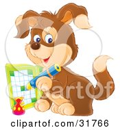 Clipart Illustration Of A Brown Puppy Dog Writing In An Activity Book With A Blue Pencil
