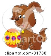 Clipart Illustration Of A Cute Puppy Sitting By A Colorful Ball