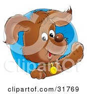 Clipart Illustration Of A Happy Brown Puppy Wearing A Collar And Looking Through A Blue Circle