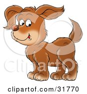 Clipart Illustration Of A Happy Brown Puppy Dog In Profile Facing To The Left Glancing At The Viewer