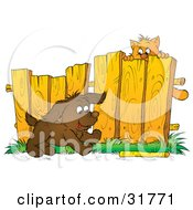 Clipart Illustration Of A Scared Kitty Hanging From A Fence Watching A Puppy Fetch A Stick