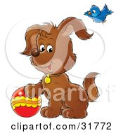 Clipart Illustration Of A Bluebird Flying Above A Brown Puppy Playing With A Ball